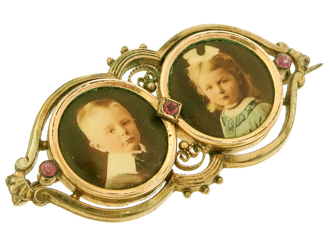 Brosche Medaillon Farbsteine Double Antik ca. 1900