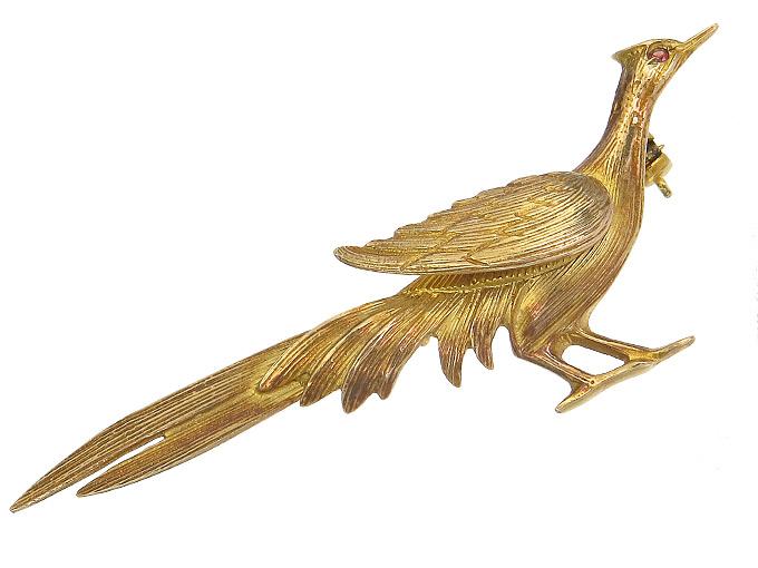 Brosche Fasan Farbstein 375er Rotgold