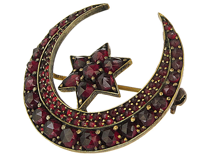 Brooch Garnets Crescent and Star