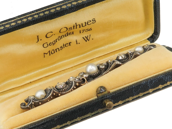 Brooch Diamonds Pearls Gold Silver Antique approx. 1880-90 Box