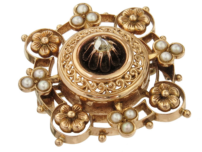 Brooch Diamond Pearls 14 Karat Rose Gold Antique Historicism approx. 1880-90