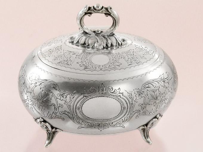 Silberdose Deckeldose Zuckerdose 800er Silber vor 1900