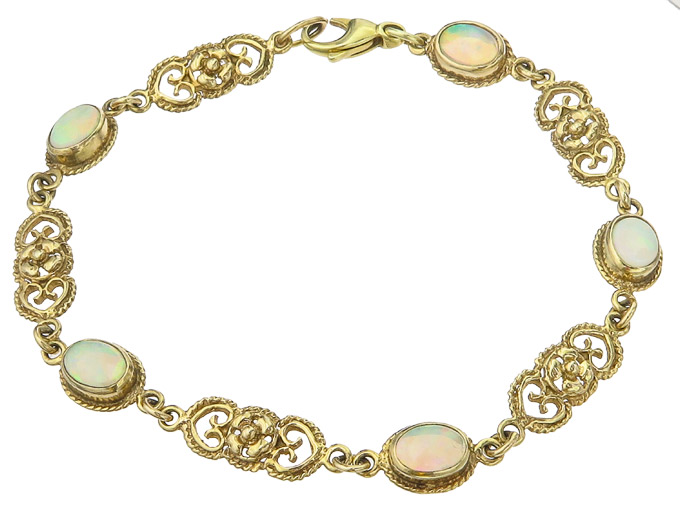 Bracelet Opals 14 Karat Yellow Gold