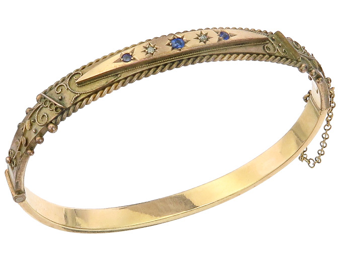 Bangle Blue Colored Stone Diamonds 9 Karat Pink Gold Antique around 1900