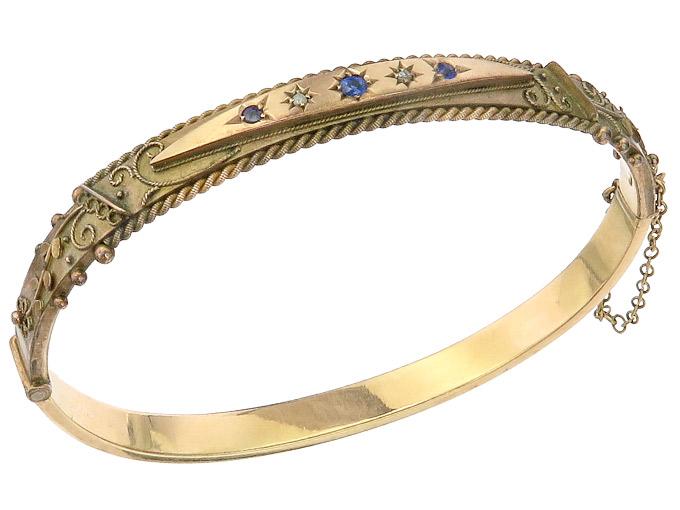 Bangle Blue Colored Stone Diamonds 9 Karat Pink Gold Antique around 1900