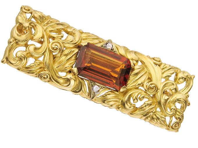 Brosche Citrin Diamanten 585er Gelbgold Art Déco ca. 1925