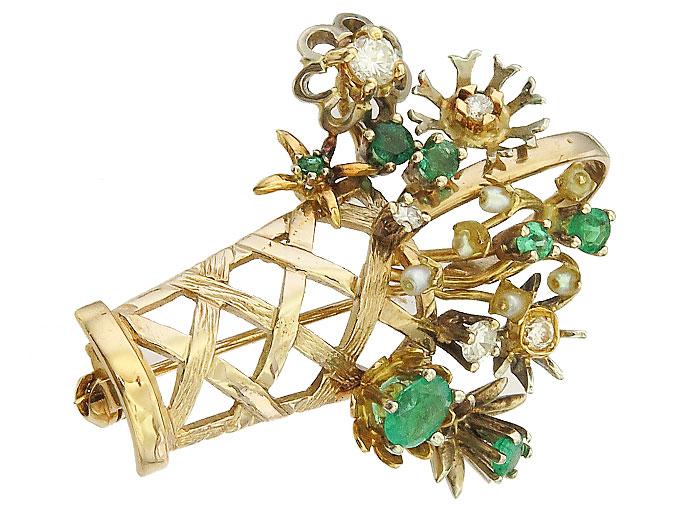 Brosche Smaragde Brillanten Perlchen 750er Gelbgold