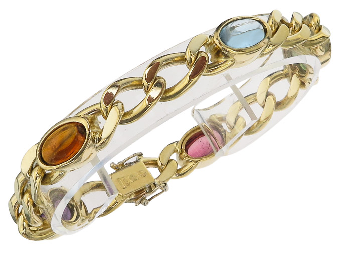 Bracelet Gemstones 750 Yellow Gold Citrin Amethyst Aquamarin Turmalin Italy