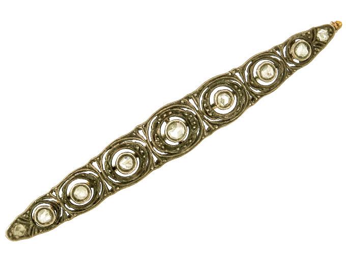 Brooch Rose Cut Diamonds 14 Karat Yellow Gold and Silver