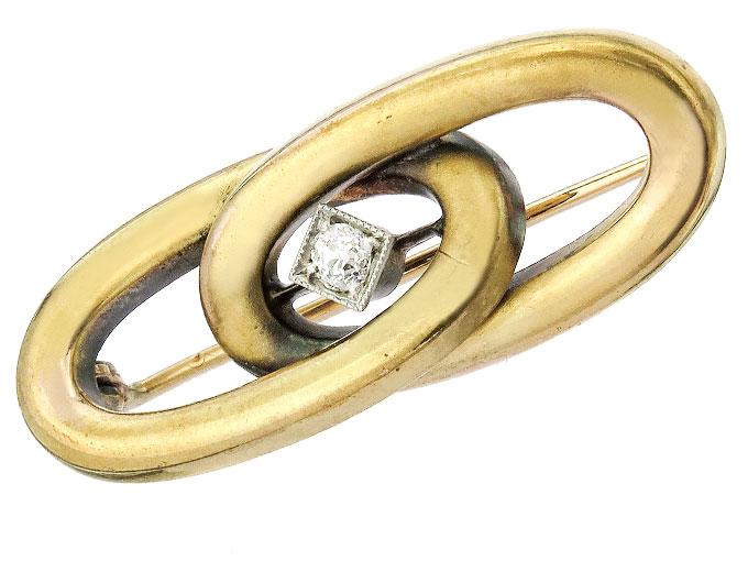 Brosche Altschliff Diamant 585er Gelbgold um 1920