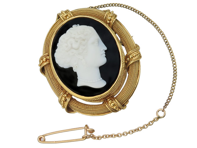 Brooch Onyx Cameo Yellow Gold Antique approx. 1860-80