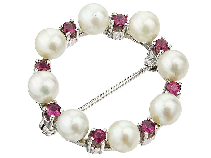 Brooch Pearls Colored Stones 14 Karat White Gold