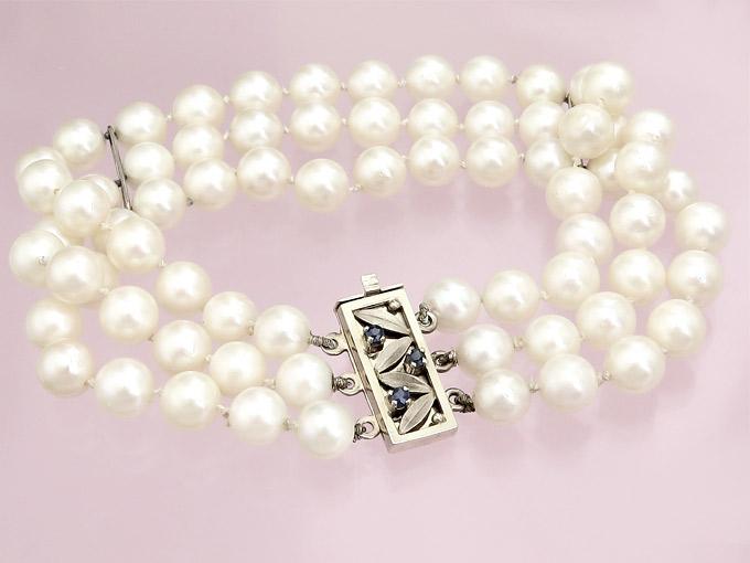 Perlen Armband Saphire 585er Weißgold