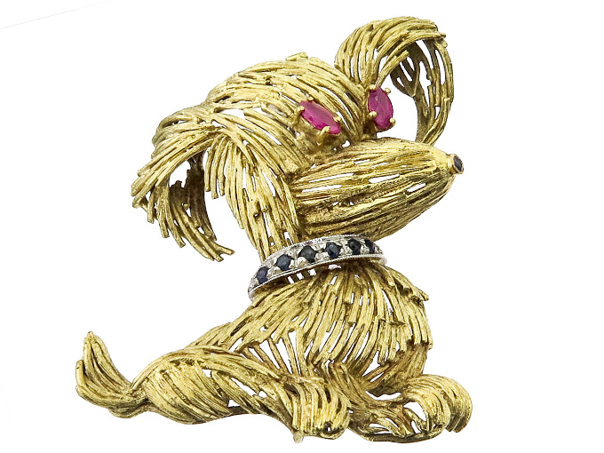 Brooch Dog Rubies Sapphires 18 Karat Gold Retro Italy approx. 1950
