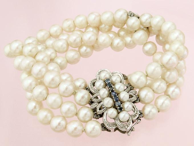 Pearl Bracelet Sapphire 18 Karat Yellow Gold