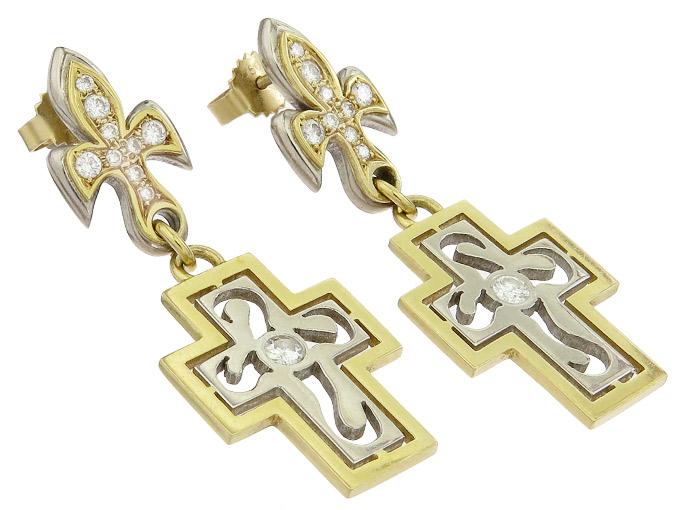 Ohrringe Kreuz Lilie Brillanten 750er Gold Zweifarbig