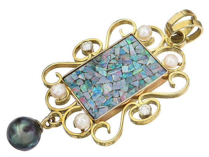 Anhänger Opal Mosaik Perlen Brillanten 750er Gelbgold um 1950