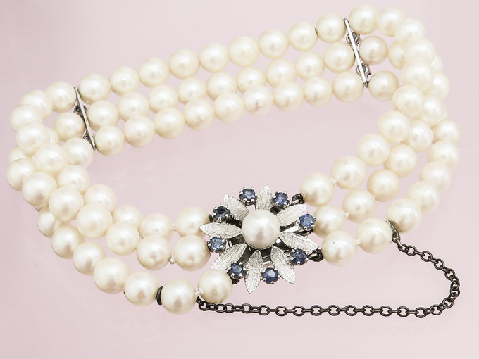 Pearl Bracelet Sapphires 14 Karat White Gold