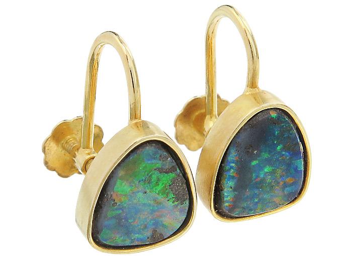 Ohrringe Opale Schraubverschlüsse 750er Gelbgold