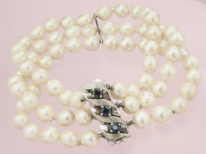 Pearl Braclet Sapphires 14 Karat White Gold