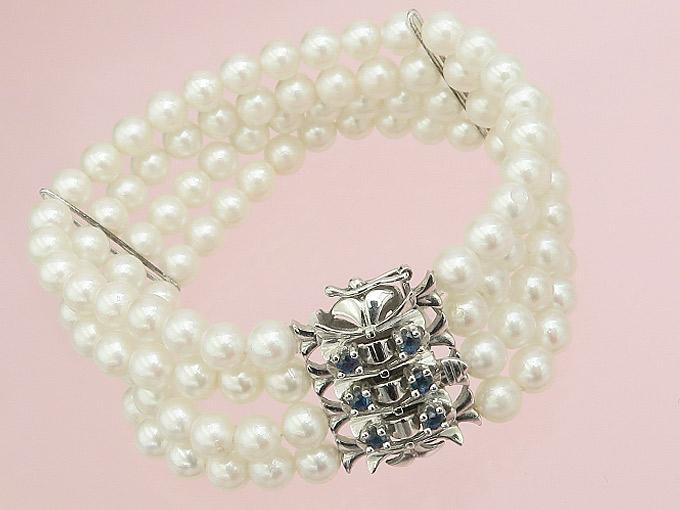 Perlen Armband Saphire 585er Weißgold ca. 1965-75