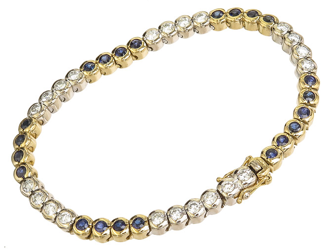 Armband Brillanten Saphire 750er Weiß- und Gelbgold