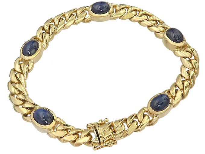 Bracelet Sapphire Cabochons 14 Karat Yellow Gold