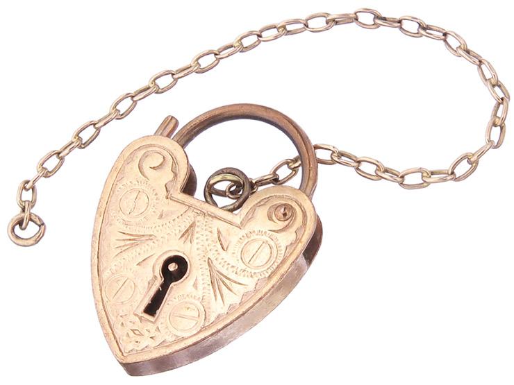 Pendant Heart Clasp 9 Karat Pink Gold Antique