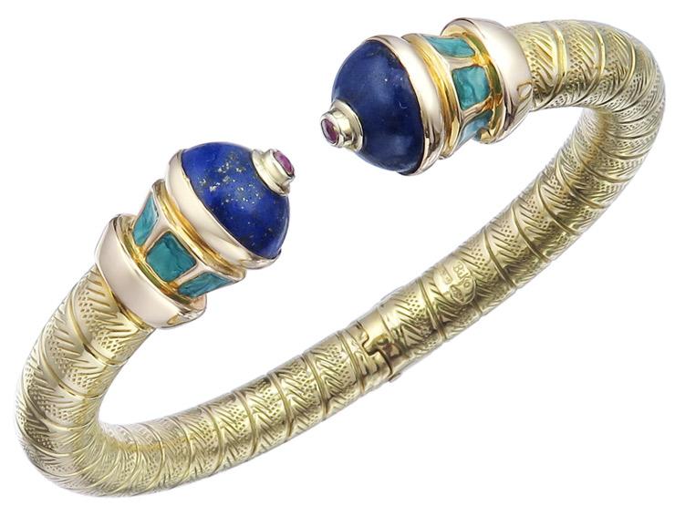 Bangle Lapis Lazuli Rubies Enamel 18 Karat Yellow Gold