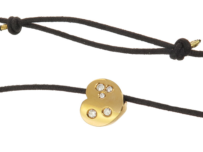 Marina B Heart Pendant Diamonds Leather Necklace 18 Karat Yellow Gold Certifikate