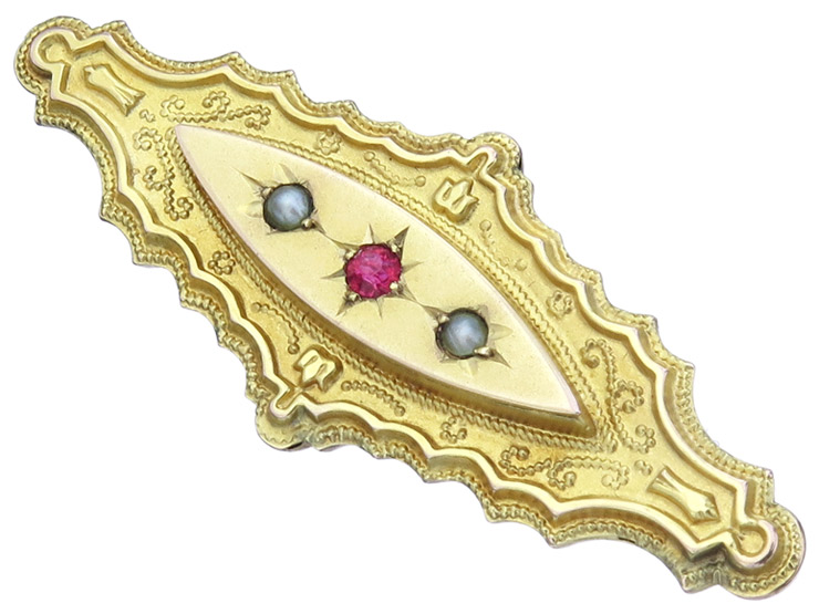 Brooch Colored Stone Pearls 9 Karat Yellow Gold England Antique
