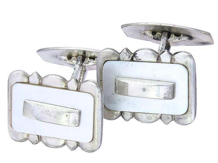 Manschettenknöpfe Art Deco Perlmutt 835 Silber ca. 1920-30