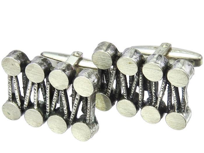 Manschettenknöpfe Stäbe und runde Elemente 835er Silber