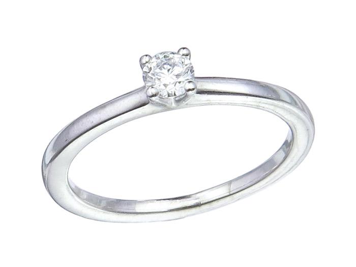 MEISTER Solitär Ring Brillant 0,22 Carat 750er Weissgold