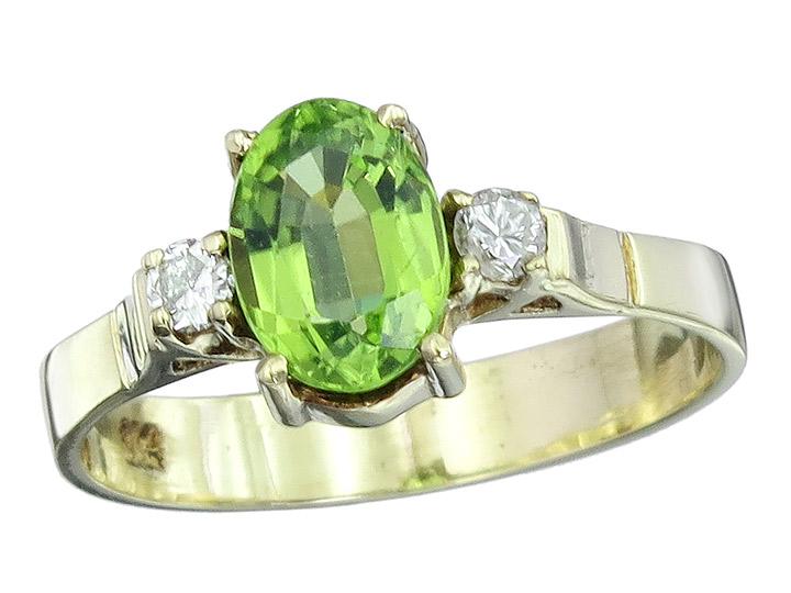 Ring Peridot Brillanten 585er Gelbgold