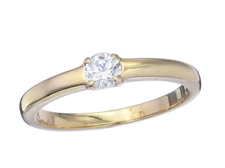 Solitaire Ring Diamond 18 Karat Yellow Gold