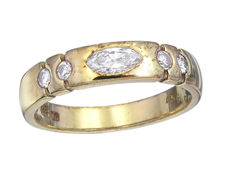 Ring Navette Brillant 585er Gelbgold
