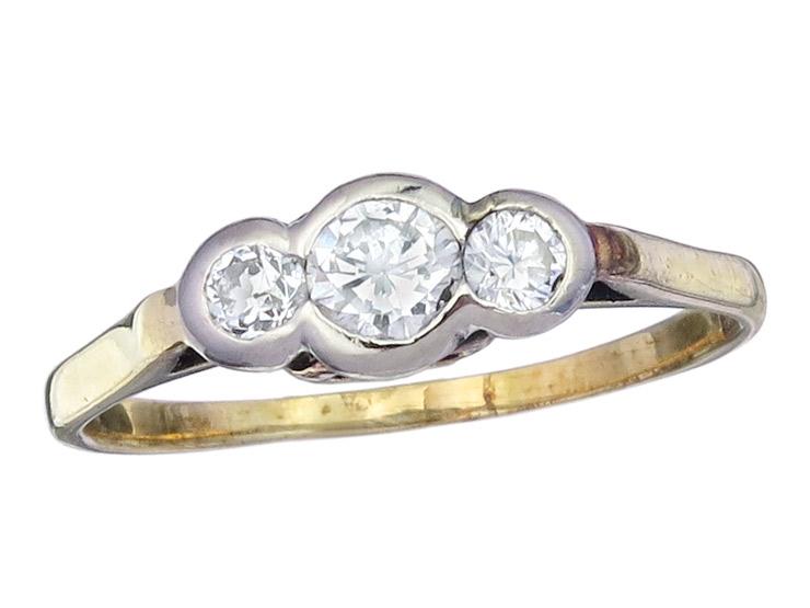 Ring Diamanten 585er Gelbgold Antik ca. 1920