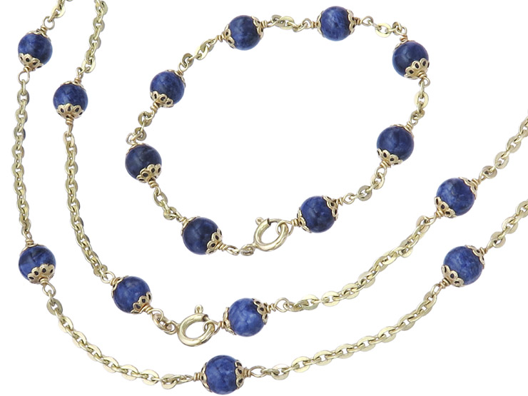 Jewelry Set Two-Part Lapis Lazuli 14 Karat Yellow Gold