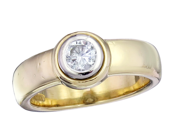 Wempe Solitaire Ring Diamond 18 Karat Yellow and White Gold