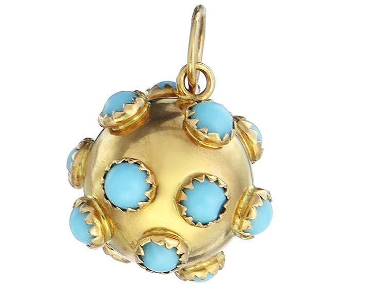 Pendant Ball Colored Stones 18 Karat Yellow Gold