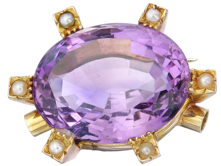Pendant Interchangeable Clasp Amethyst Pearls 14 Karat Yellow Gold