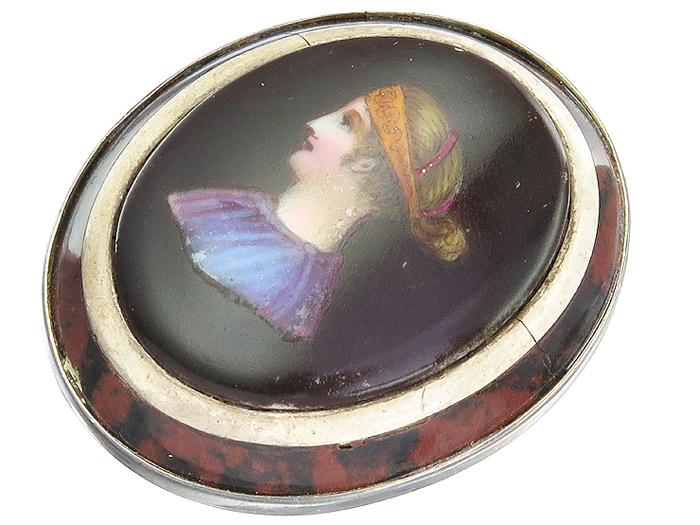 Pendant Antique Woman Portrait porcelain Tortoiseshell 925 Silver around 1850