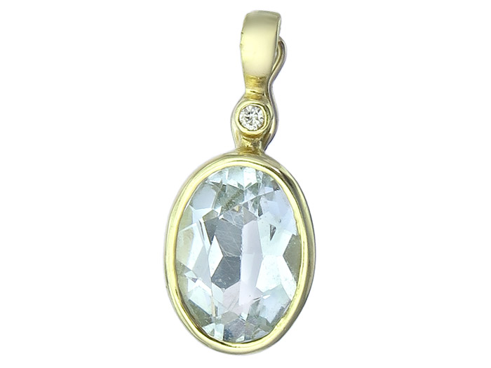 Pendant Aquamarin 14 Karat Yellow Gold
