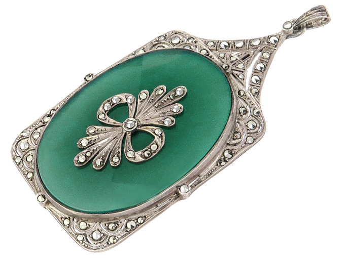 Pendant Green Agate Marcasites Sterling Silver