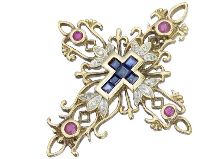 Anhänger Kreuz Schmucksteine Diamanten 333er Gelbgold