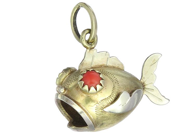 Anhänger Kugelfisch Schmucksteine 585er Gold Zweifarbig