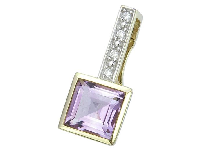 Pendant Lila Colored Stone Diamonds 14 Karat Yellow Gold