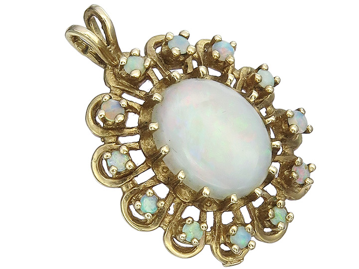 Pendant Opals 10 Karat Yellow Gold