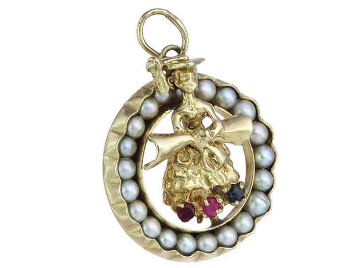 Pendant Figure with a Loop Small Pearls Colored Stones 14 Karat Yellow Gold